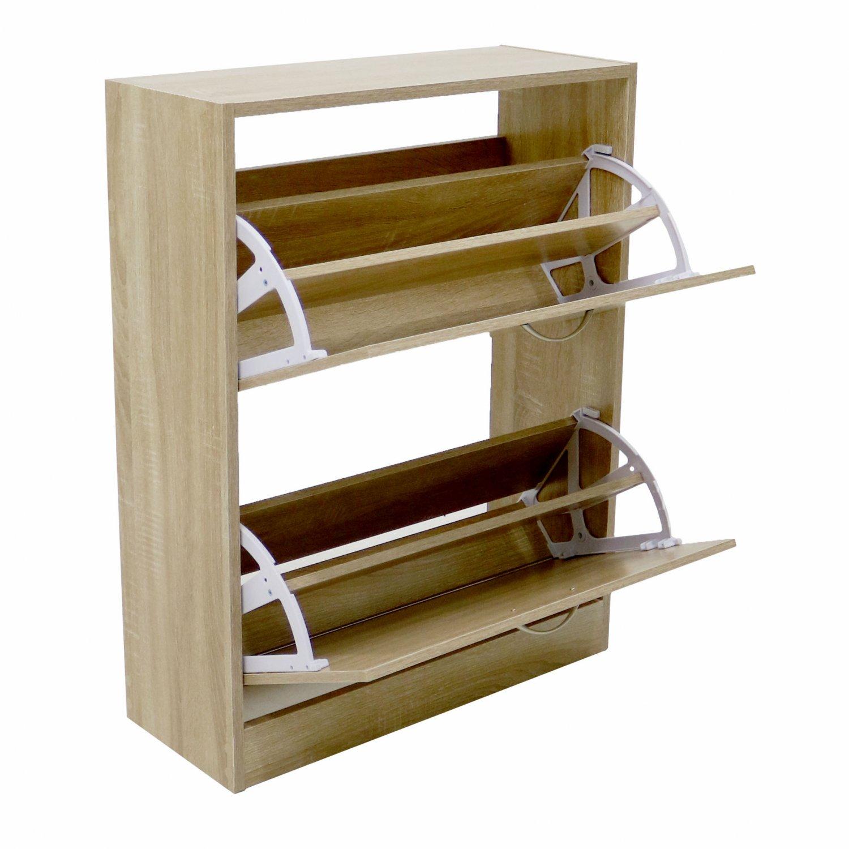 2 drawer oak effect shoe storage cupboard cabinet for Storage furniture