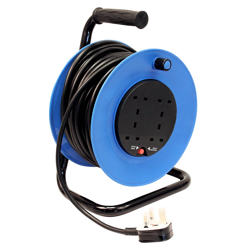 230v 50m 13a 4 Way Gang Socket Extension Cable Reel