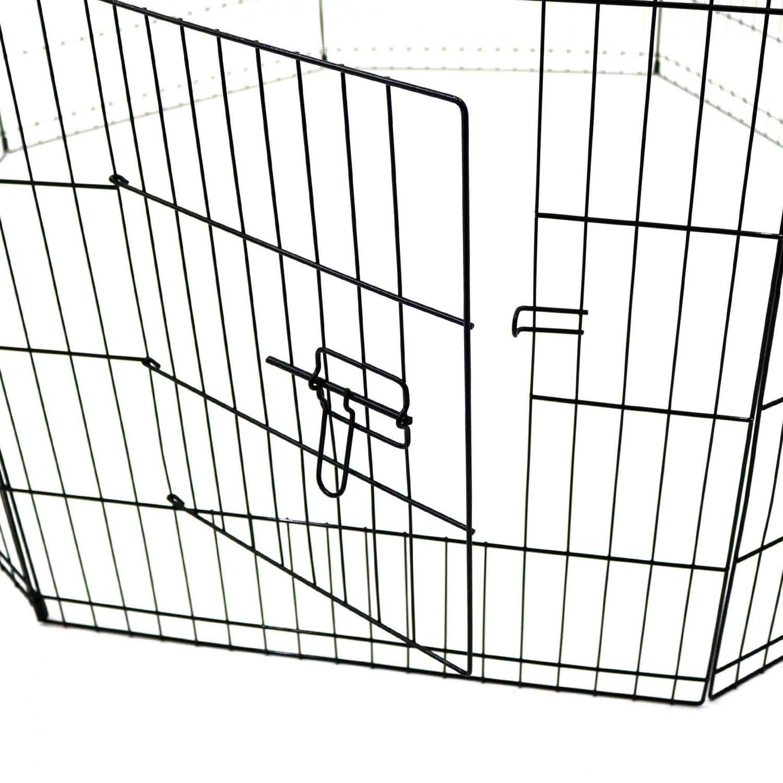 Medium folding pet dog rabbit run play pen cage enclosure for Dog run cage enclosure
