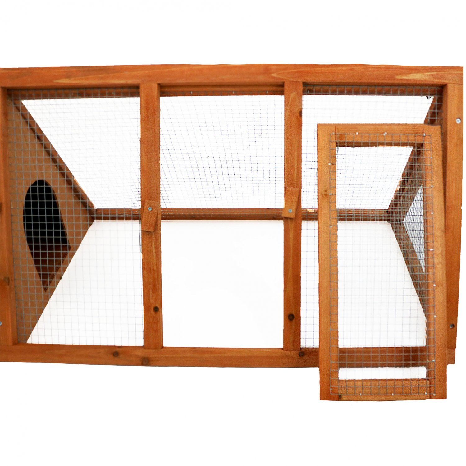 Wooden outdoor triangle rabbit guinea pig pet hutch run for Guinea pig dresser cage