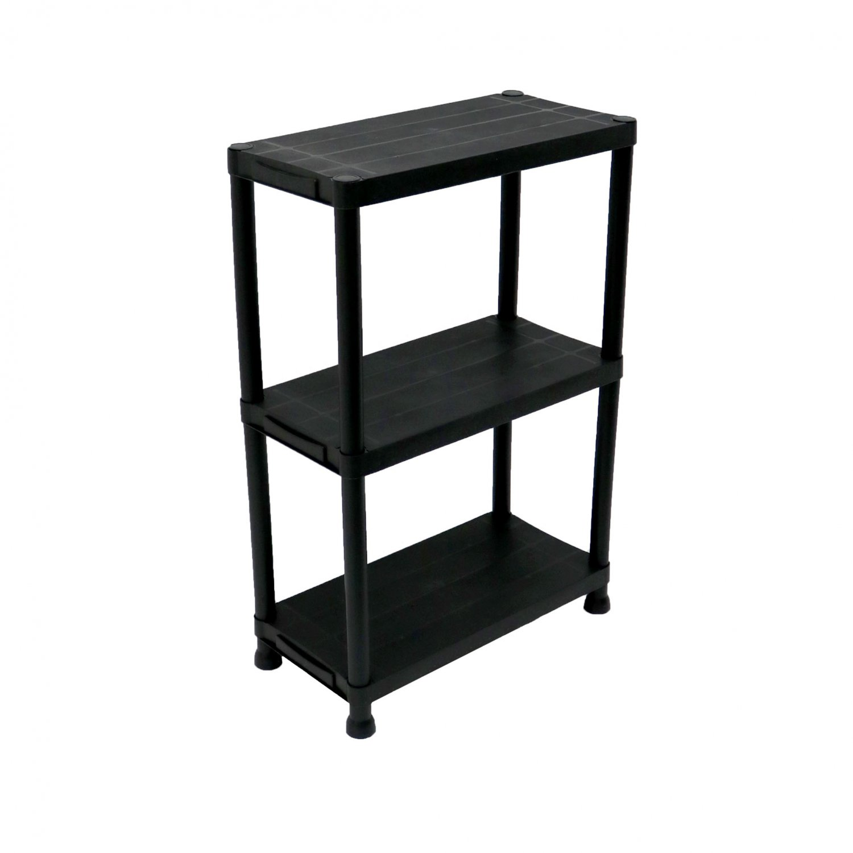 3 tier black plastic heavy duty shelving racking storage unit
