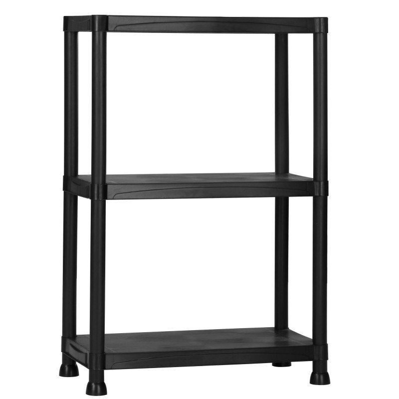 3 tier black plastic heavy duty shelving racking storage unit ebay. Black Bedroom Furniture Sets. Home Design Ideas
