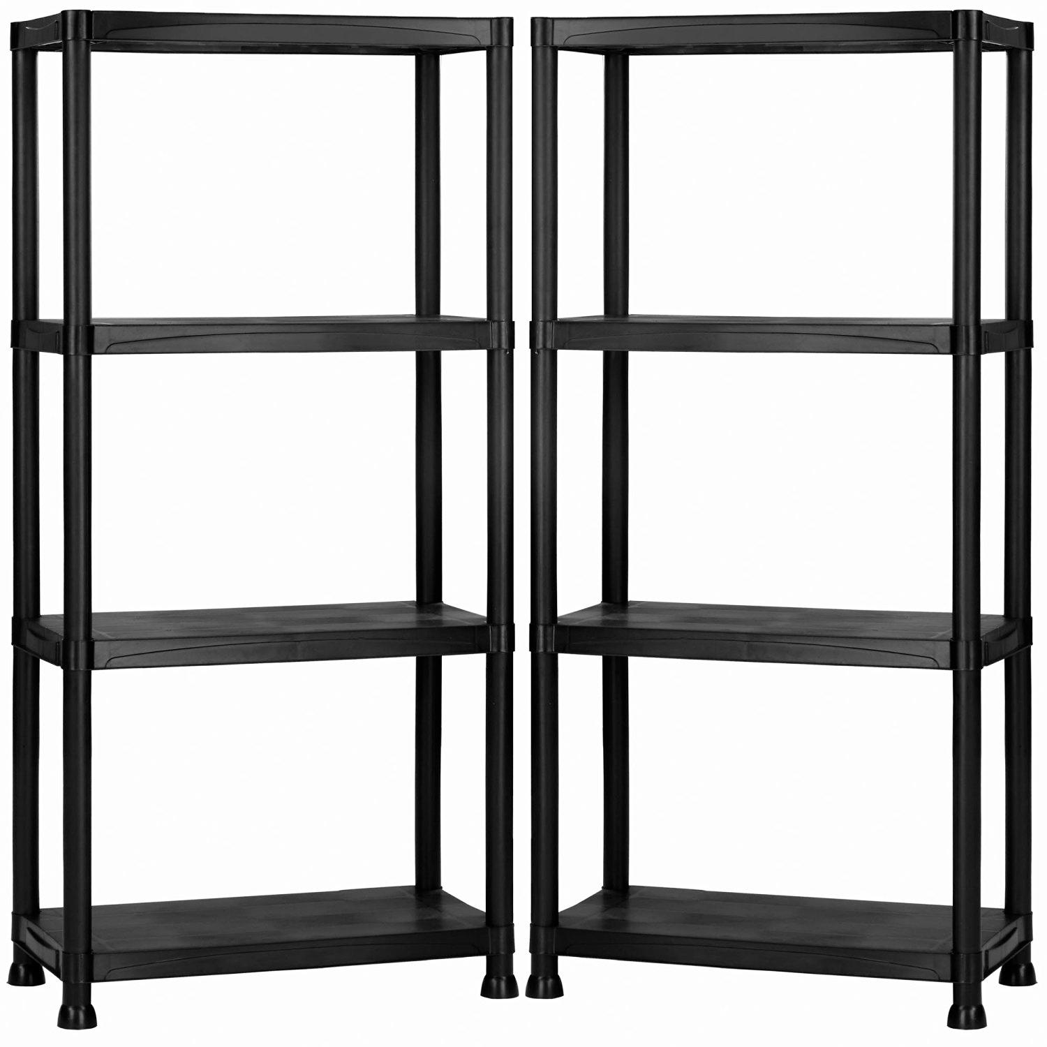 new 2x 4 tier black plastic heavy duty shelving racking. Black Bedroom Furniture Sets. Home Design Ideas
