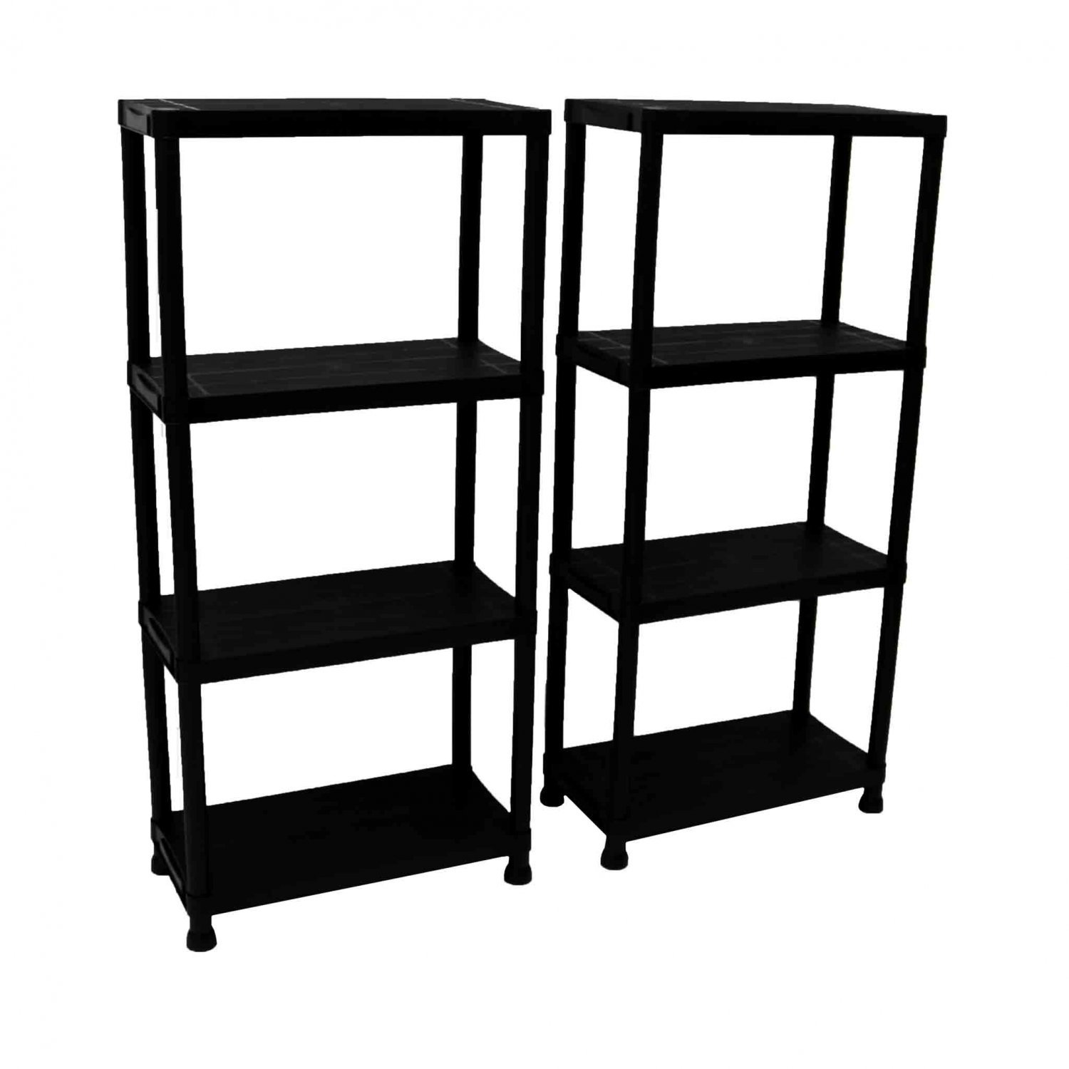 2x 4 tier black plastic heavy duty shelving racking storage unit oypla stocking the. Black Bedroom Furniture Sets. Home Design Ideas