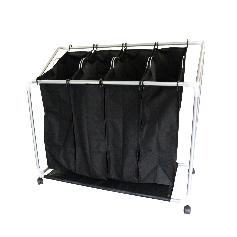 laundry furniture. 4 Bag Laundry Clothes Washing Sorter Cart Trolley Hamper Basket Furniture