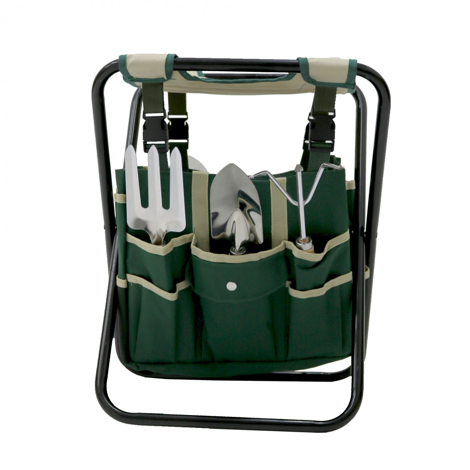 Folding Gardeners Stool With 5pc Tools And Storage Bag