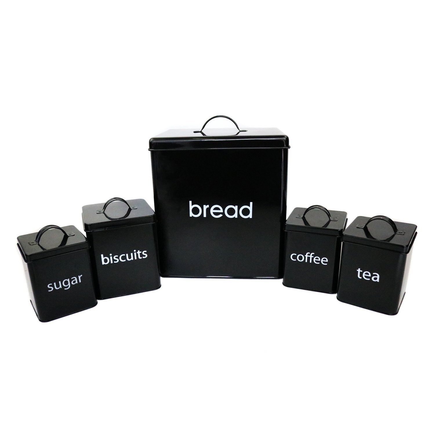 5 piece kitchen canister set bread biscuits tea sugar coffee