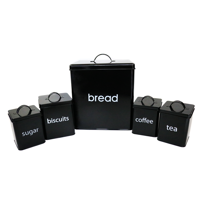 5 Piece Kitchen Canister Set Bread Biscuits Tea Sugar
