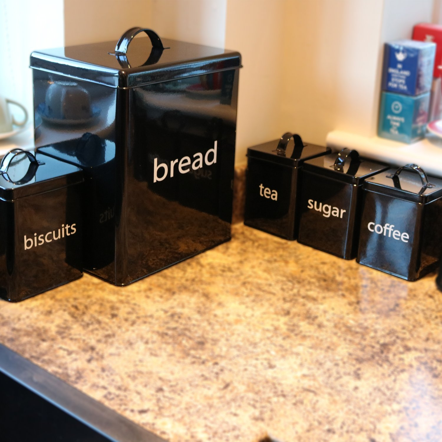 5pc Black Kitchen Canister Set Bread Biscuits Tea Sugar