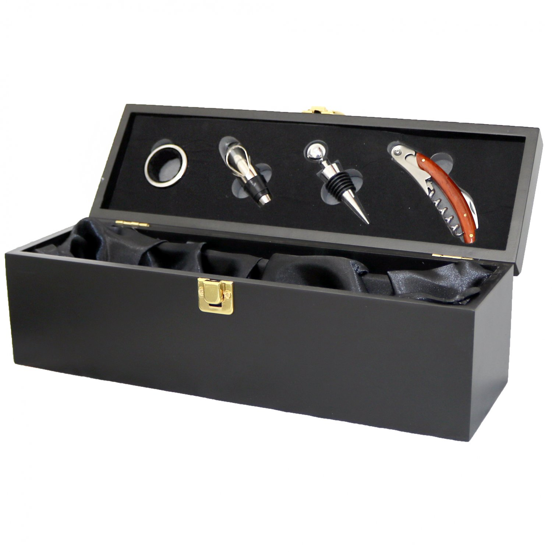 Wine Bottle Gift Box Presentation Case 4pc Accessories Set