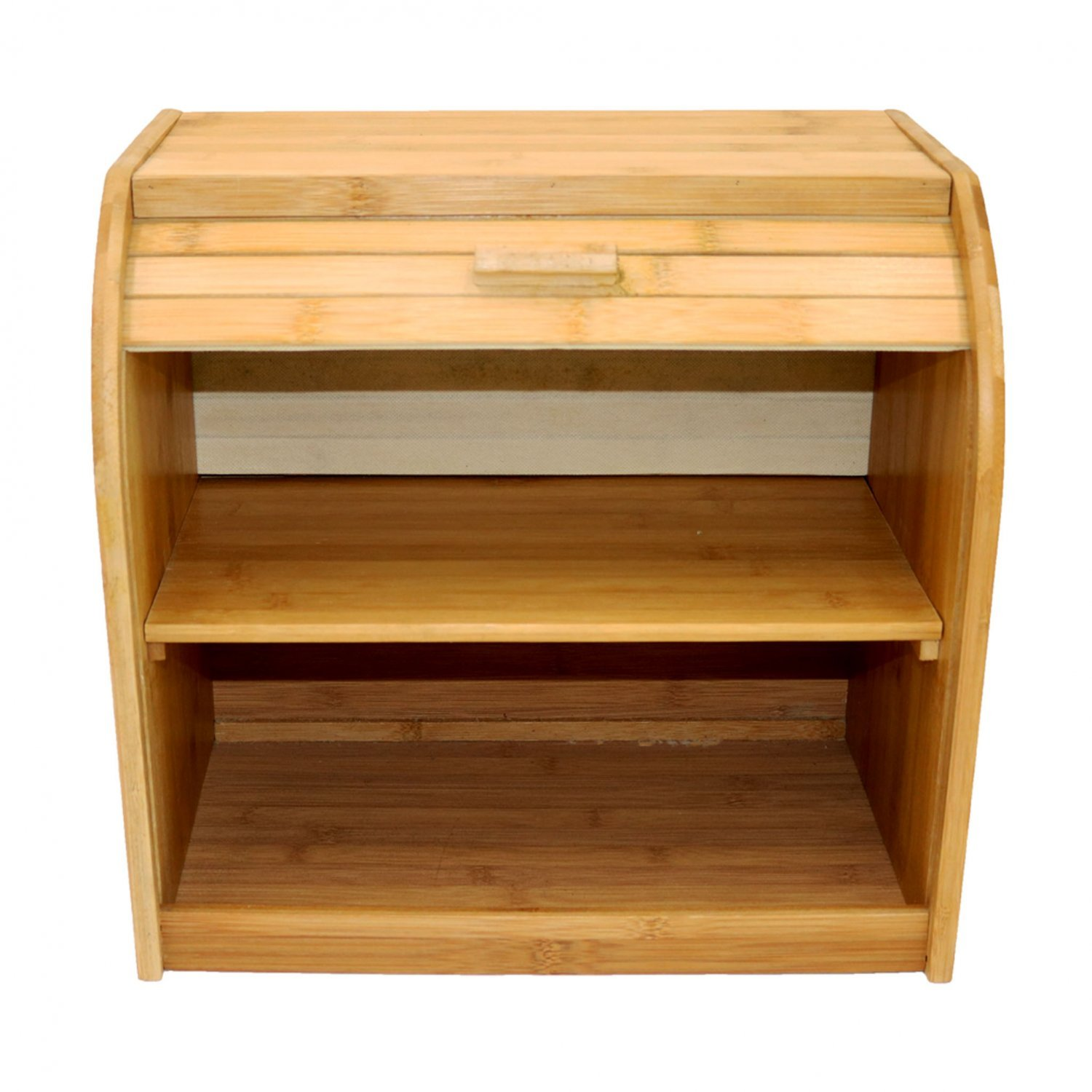 Double Layer Roll Top Bamboo Wooden Bread Bin Kitchen Storage