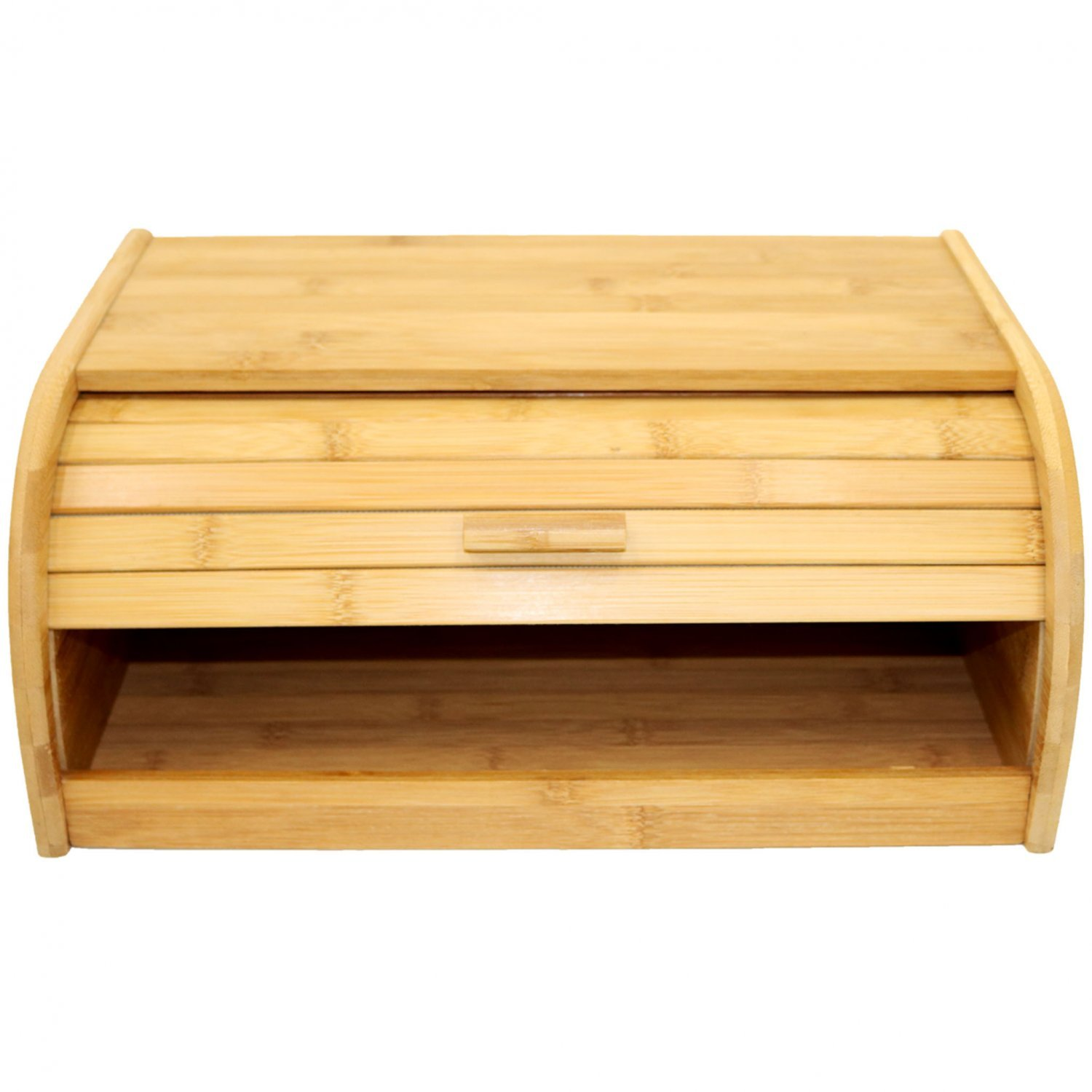 Single Layer Roll Top Bamboo Wooden Bread Bin Kitchen Storage