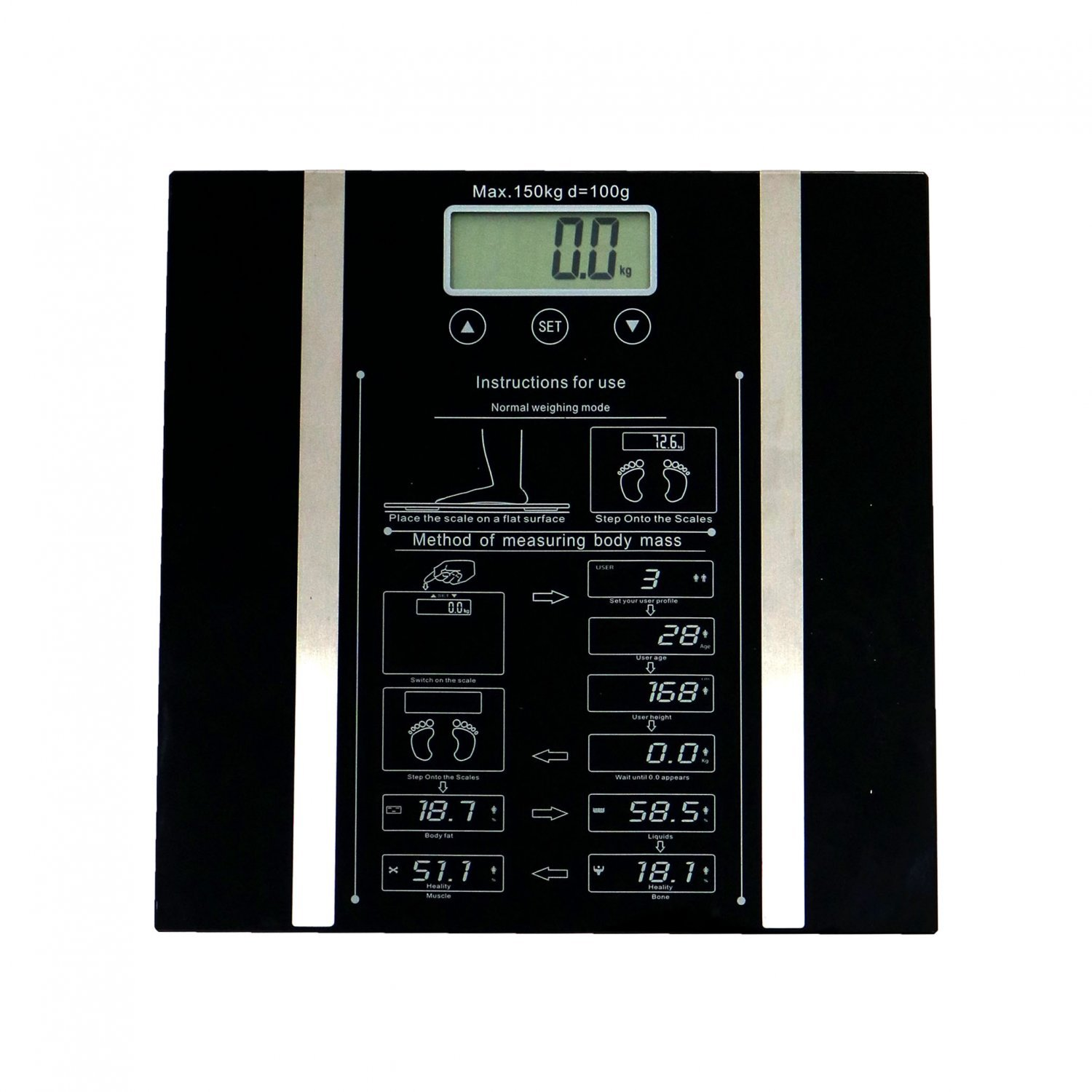 150kg Digital Electronic Body Fat Bmi Analyser Bathroom