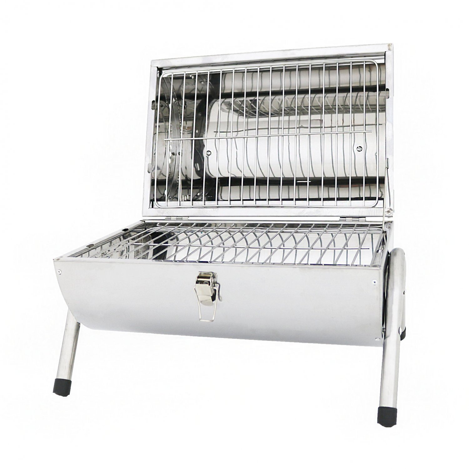 Portable Stainless Steel Barrel Bbq Charcoal Barbecue Table Top