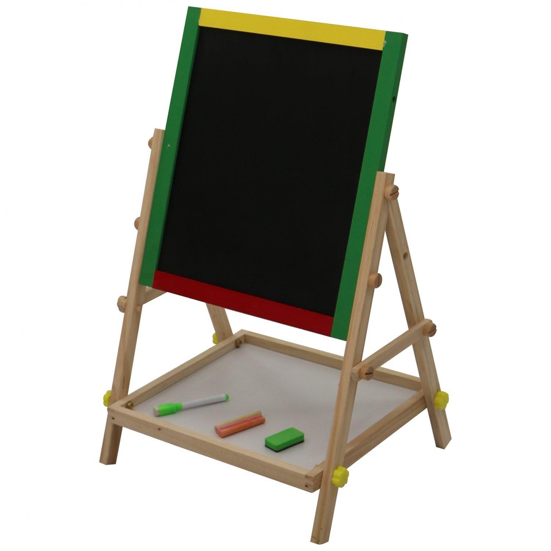 adjustable children kids 2 in 1 wooden easel black white board oypla stocking the. Black Bedroom Furniture Sets. Home Design Ideas