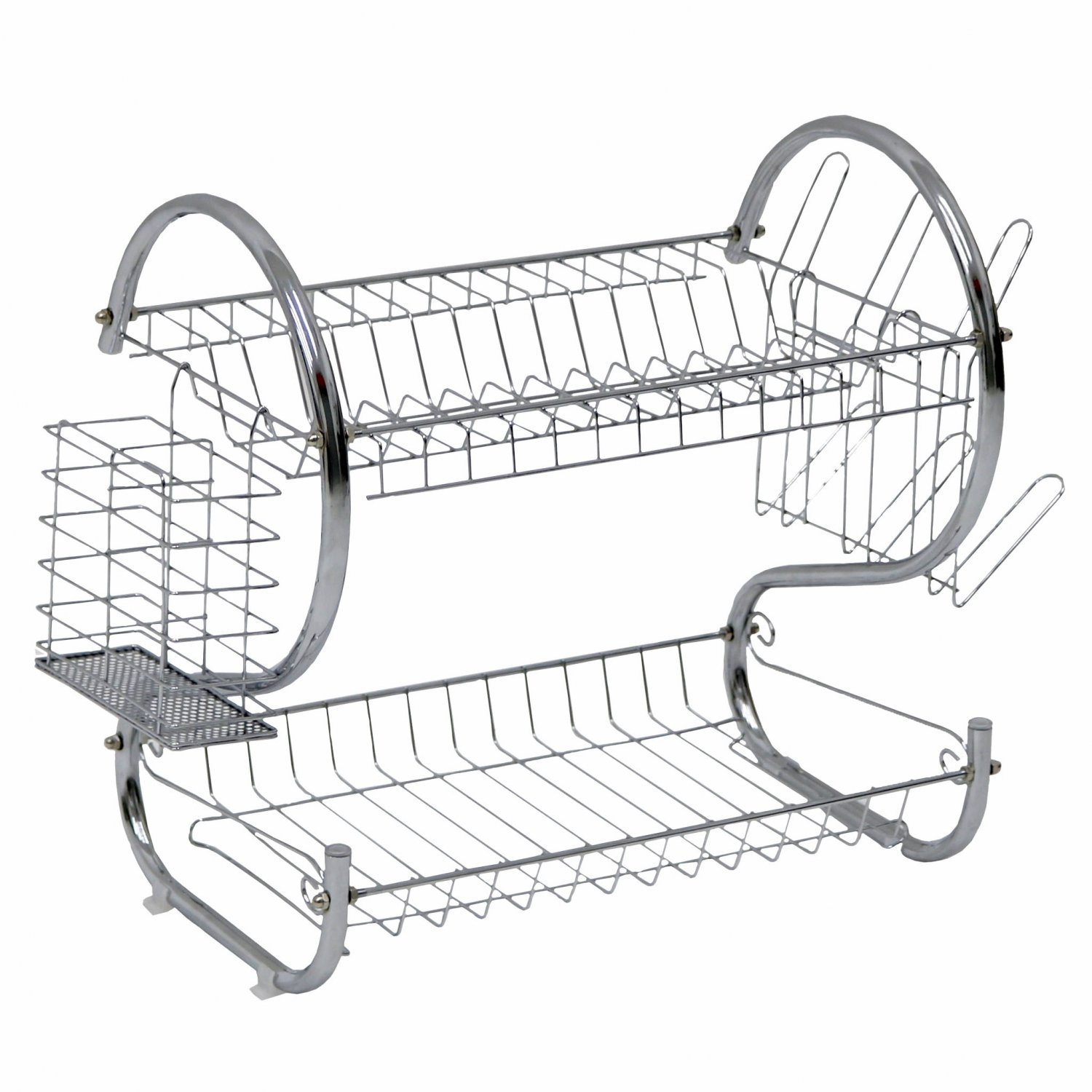 2 Tier Chrome Dish Drainer Plate Cutlery Rack Holder W