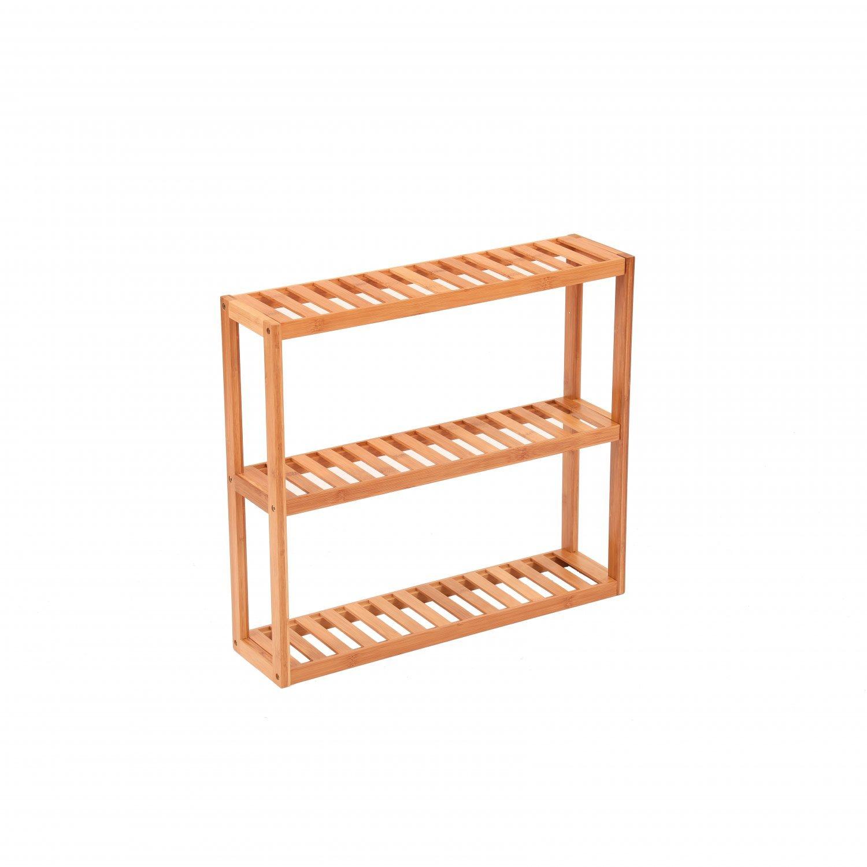 Groovy 3 Tier Wooden Bamboo Bathroom Kitchen Wall Mounted Shelf Interior Design Ideas Clesiryabchikinfo
