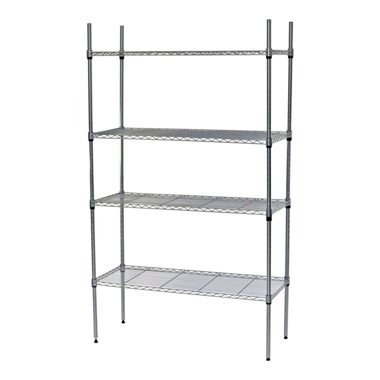 Kitchen Storage Units On Wheels: 4 Tier Heavy Duty Steel Wire Rack Shelf Kitchen Storage