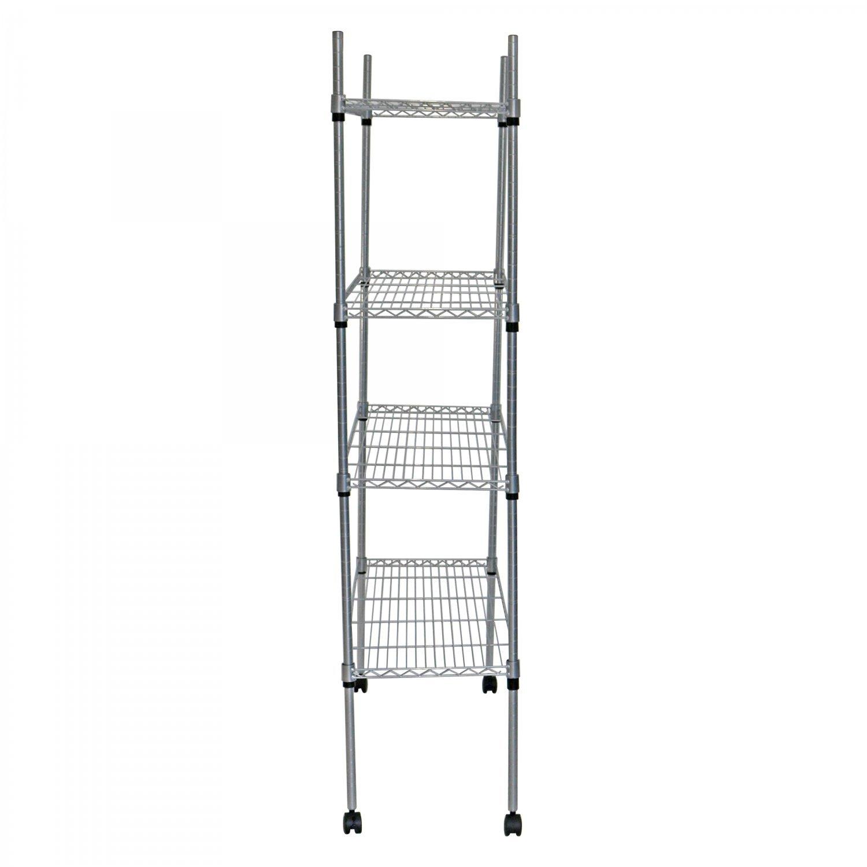 Kitchen Storage Units On Wheels: 4 Tier Heavy Duty Steel Wire Rack Kitchen Storage Unit W