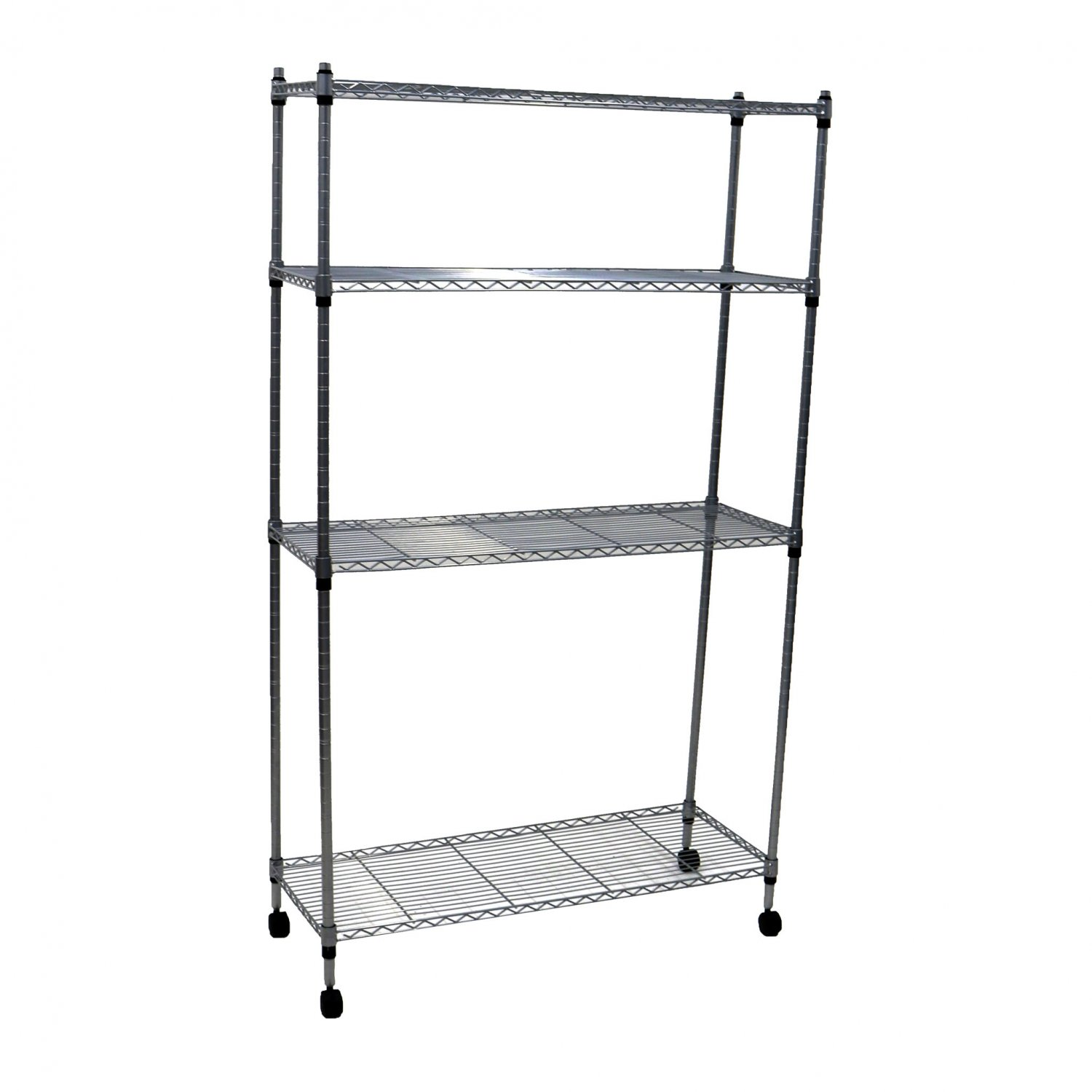 4 Tier Heavy Duty Steel Wire Rack Kitchen Storage Unit w/ Wheels ...