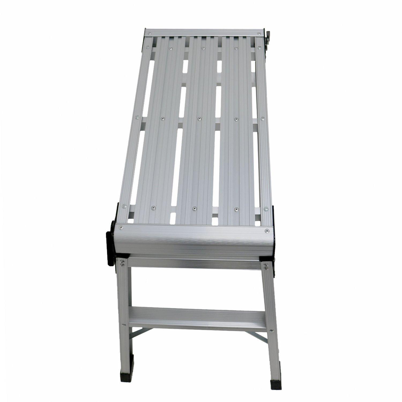 150kg Folding Aluminium Work Platform Step Up Bench Ladder