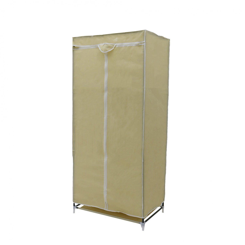 Canvas Storage Boxes For Wardrobes: Single Cream Canvas Wardrobe Clothes Rail Hanging Storage