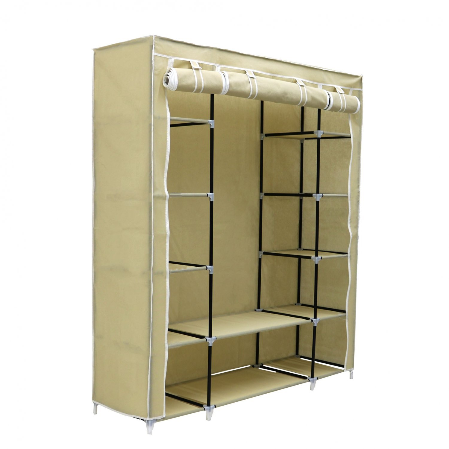Triple Cream Canvas Wardrobe Clothes Rail Hanging Storage Closet