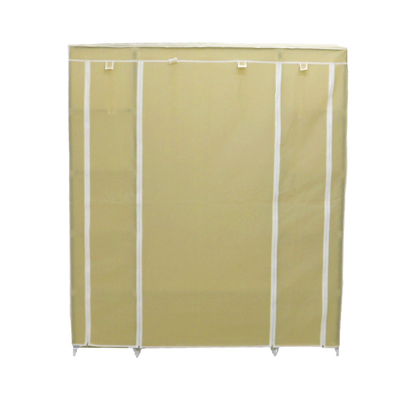 Canvas Storage Boxes For Wardrobes: Triple Cream Canvas Wardrobe Clothes Rail Hanging Storage