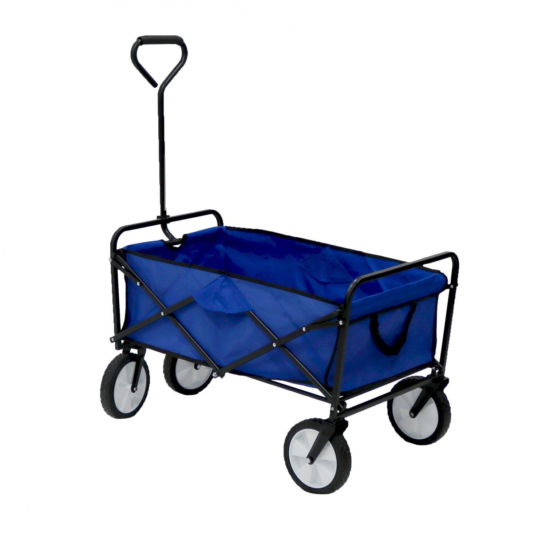 d7dbe3e867f5 Blue Heavy Duty Foldable Garden Trolley Cart Wagon Truck