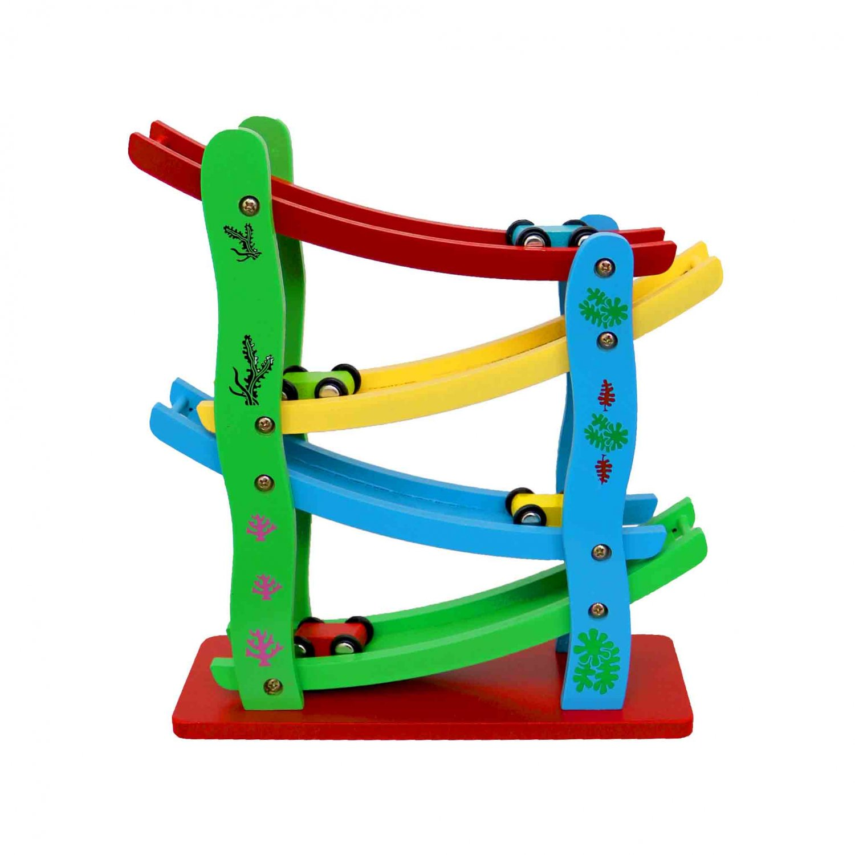 Childrens Clack Wooden Racetrack Ramp Car Run Slider Toy