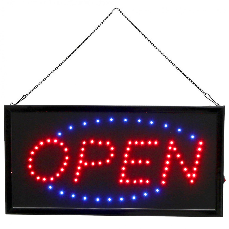 Flashing LED Open Sign Shop Window Display Hanging Light