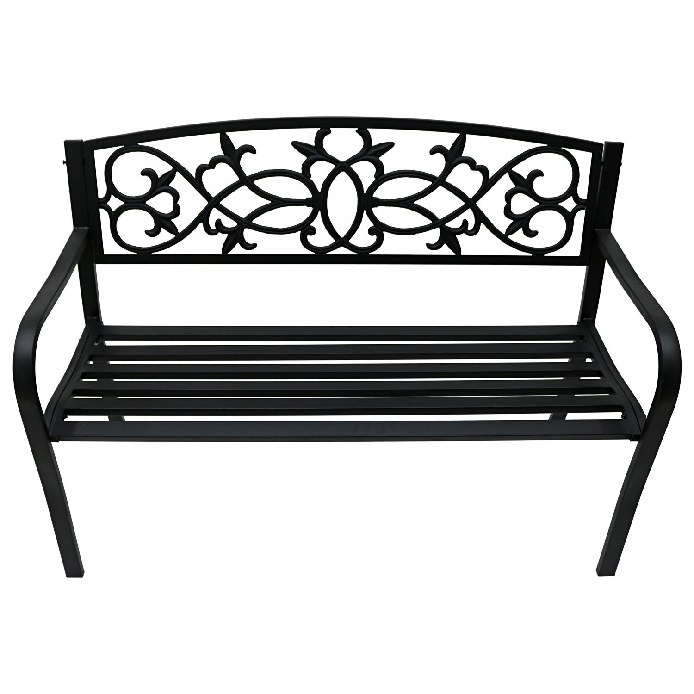 Super 2 Seater Black Metal Outdoor Garden Bench Seat Patio Park Chair Beatyapartments Chair Design Images Beatyapartmentscom