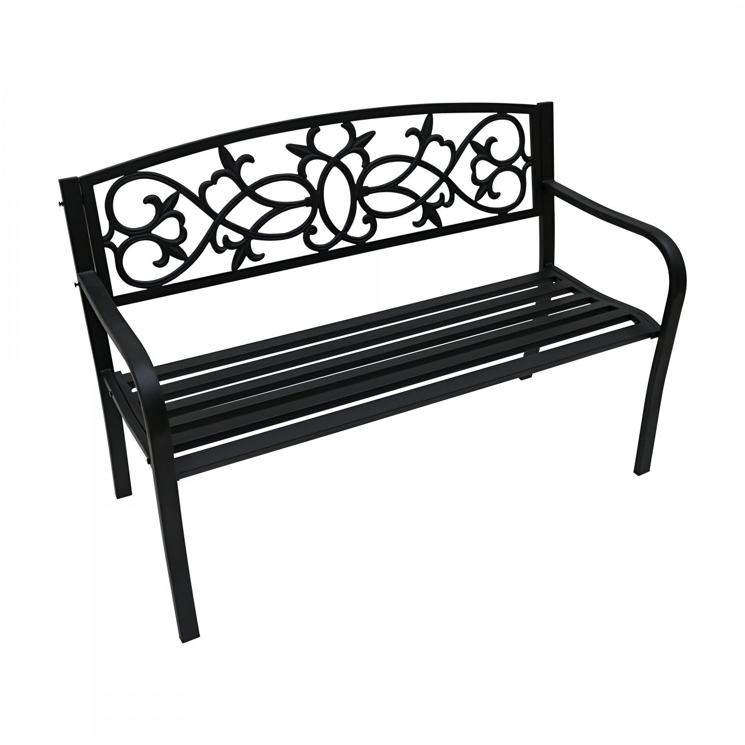 2 Seater Black Metal Outdoor Garden Bench Seat Patio Park Chair