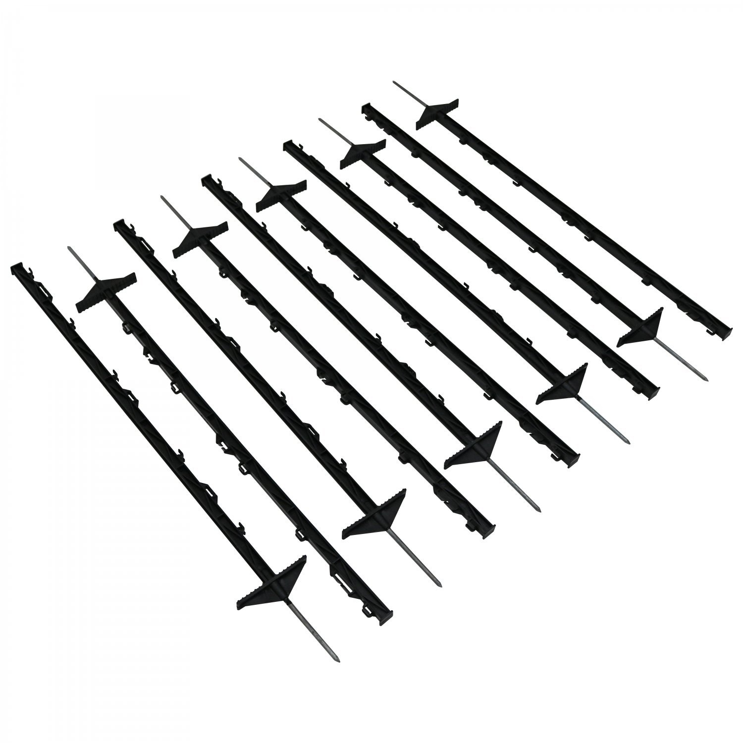 1m black plastic electric fencing pins posts stakes pack