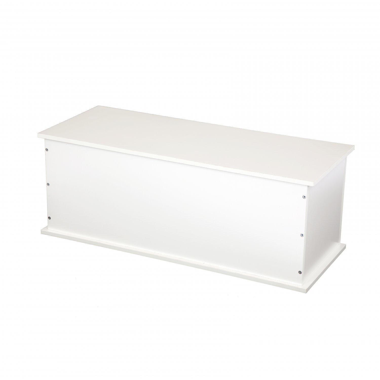White Wooden Storage Chest Ottoman Blanket Box Toy Chest