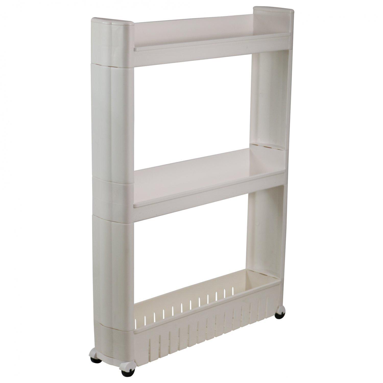 3 Tier Slide Out Kitchen Bathroom Storage Tower Shelf Organiser