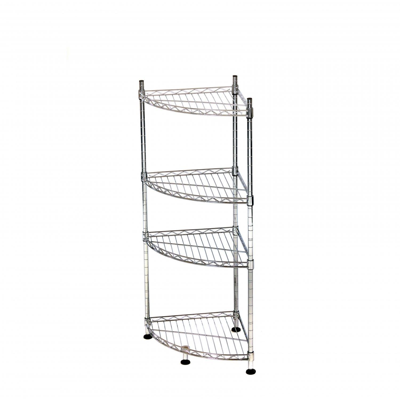 4 Tier Heavy Duty Steel Wire Rack Bathroom Corner Storage Unit