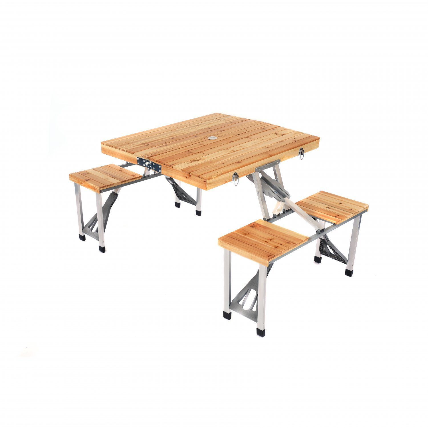 - Wooden Folding Outdoor Picnic Table And Bench Set 4 Seats - £43.99