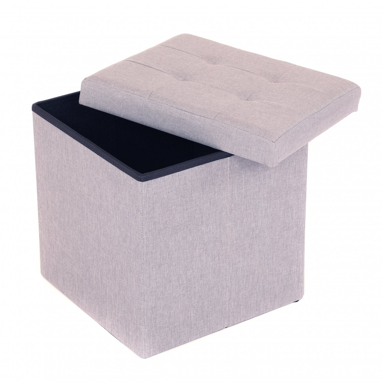 Sensational Details About New Small Grey Linen Folding Ottoman Storage Chest Box Seat Stool Bench Gmtry Best Dining Table And Chair Ideas Images Gmtryco