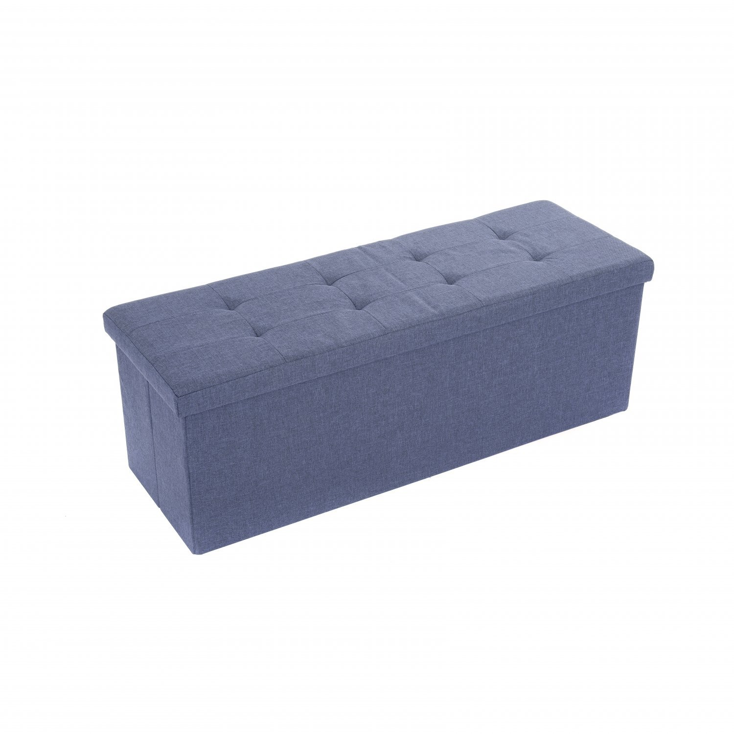 Large Blue Linen Folding Ottoman Storage Chest Box Seat Bench 29 99 Oypla Stocking The Very Best In Toys Electrical Furniture Homeware Garden Gifts And Much More