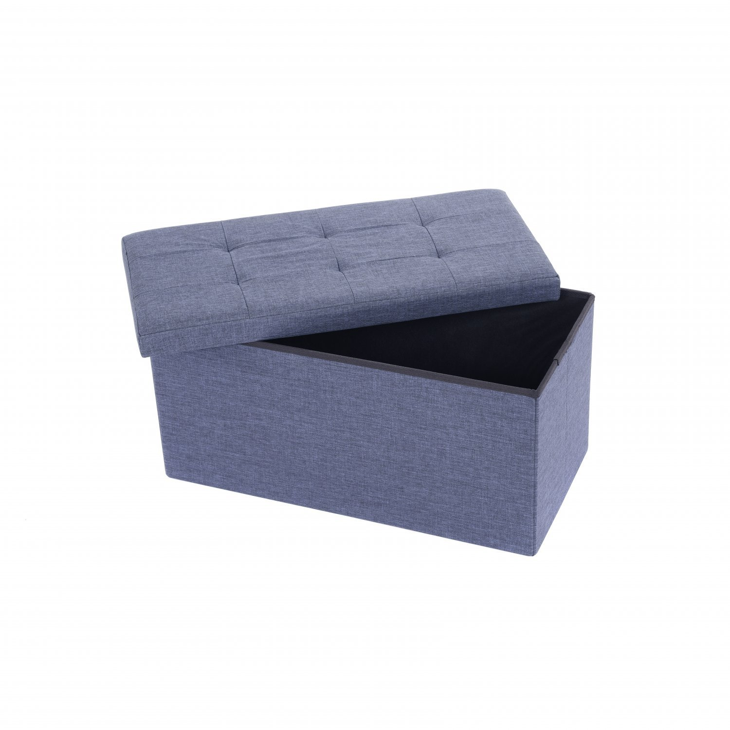 Kids Collapsible Ottoman Toy Books Box Storage Seat Chest: Medium Blue Linen Folding Ottoman Storage Chest Box Seat