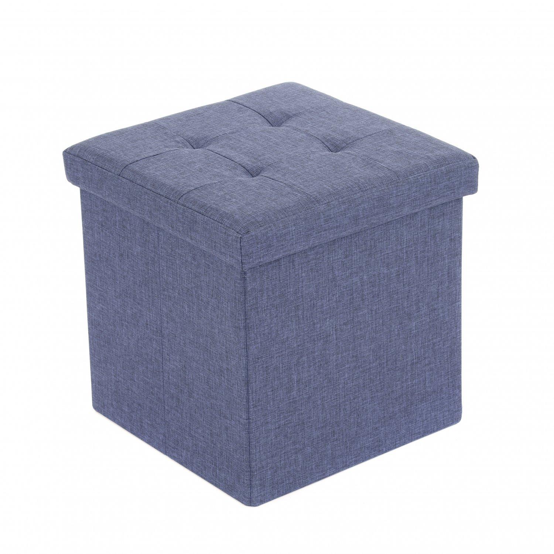 Small Blue Linen Folding Ottoman Storage Chest Box Seat