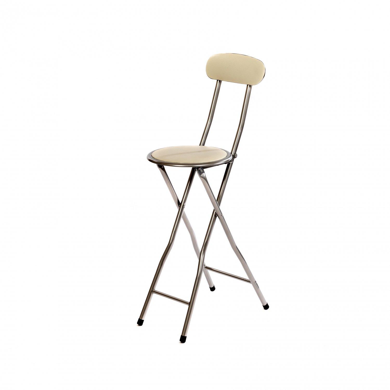 new arrival 16c62 da4db White Padded Folding High Chair Breakfast Kitchen Bar Stool Seat