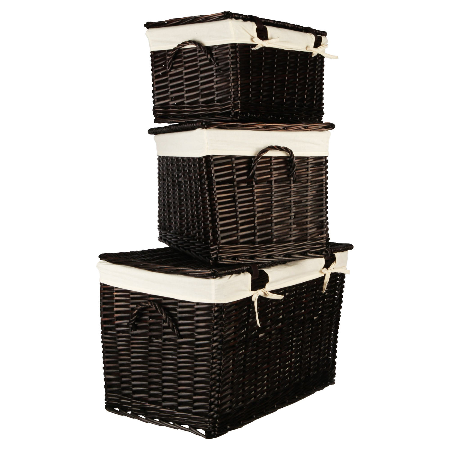 Wicker Toy Basket With Lid : Wicker lidded baskets chocolate brown pack home