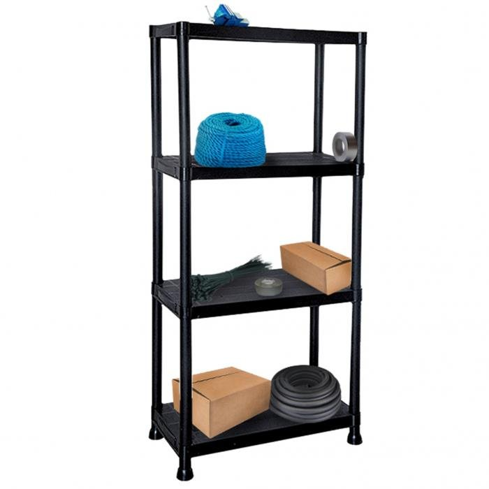 4 tier black plastic heavy duty shelving racking storage. Black Bedroom Furniture Sets. Home Design Ideas