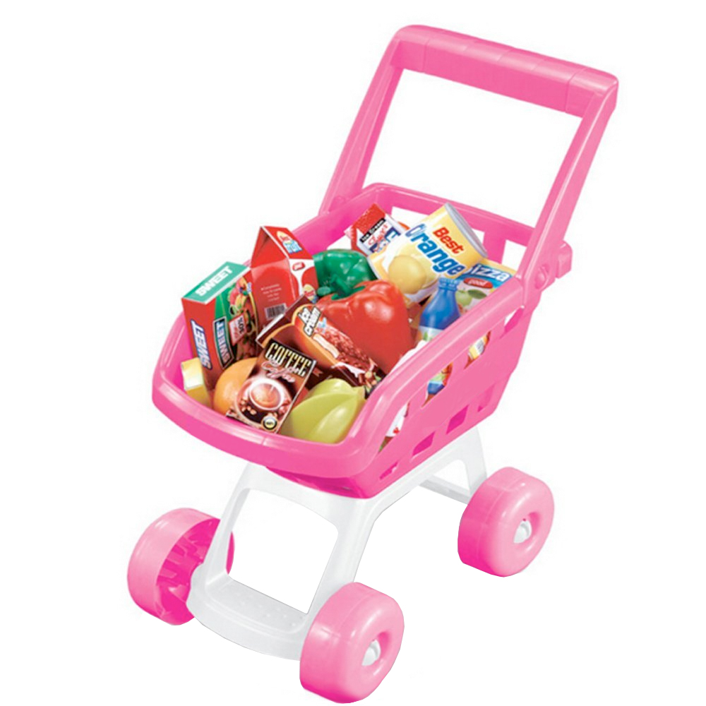 Pink Childrens Kids Role Play Supermarket Shopping Trolley